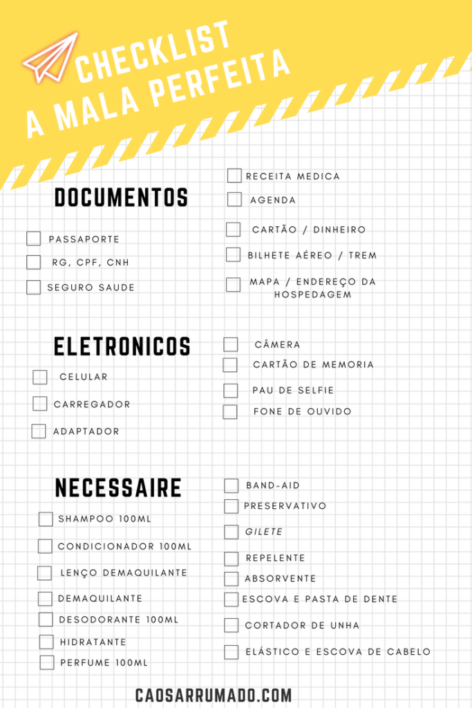 MALA DE VIAGEM - O QUE LEVAR EM CADA TIPO DE AVENTURA! checklist